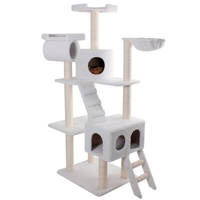 """Majestic Pet Products 73"""" Bungalow Sherpa Cat Tree"""
