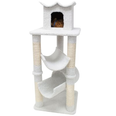 """Majestic Pet Products 47"""" Bungalow Sherpa Cat Tree"""