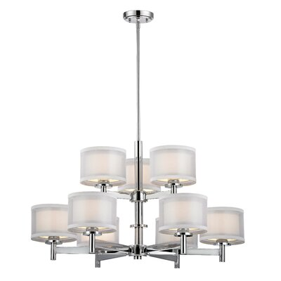 Recesso Double Organza 9 Light Chandelier Product Photo