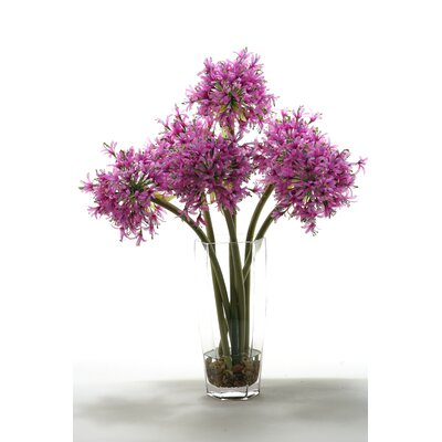 Starfire Alliums in Hexagon Glass Vase by D & W Silks