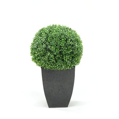 D & W Silks Boxwood Ball Square Topiary in Planter
