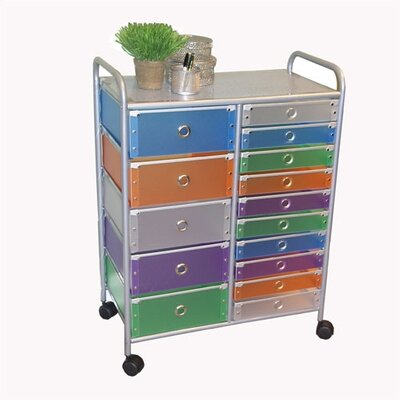 15 Drawer Multi-Colored Rolling Storage Tower by 4D Concepts