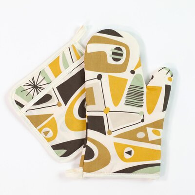 Atomic Dreams Oven Mitt and Potholder Set by Sin In Linen