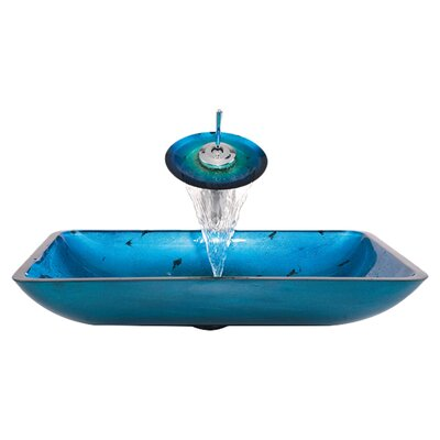 Glass Combination Galaxy Vessel Bathroom Sink & Faucet with Drain Product Photo