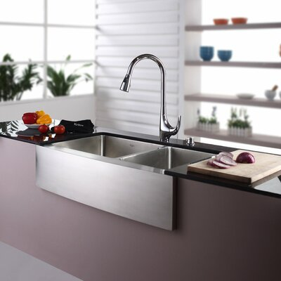 "35.9"" x 20.75"" Double Bowl Farmhouse Kitchen Sink with Faucet & Soap Dispenser Product Photo"