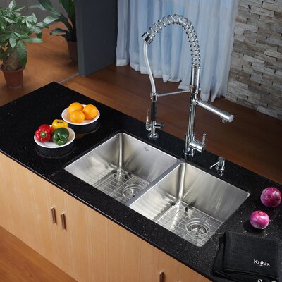 """Kraus 32.75"""" x 19"""" Undermount Kitchen Sink with Faucet and Soap Dispenser"""