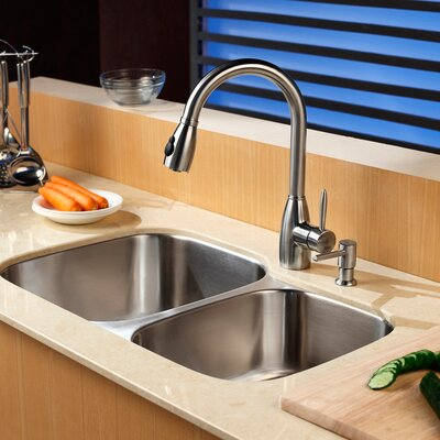 "32"" x 20.75"" Double Bowl Undermount Kitchen Sink with Faucet and Soap Dispenser Product Photo"