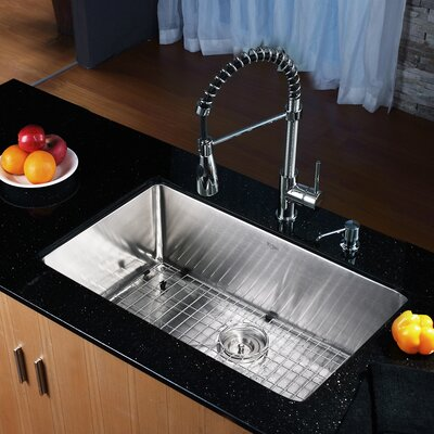 "30"" x 18"" Undermount Kitchen Sink with Faucet and Soap Dispenser II Product Photo"