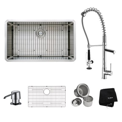 "32"" x 19"" Undermount Kitchen Sink with Faucet and Soap Dispenser Product Photo"
