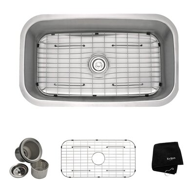 "Stainless Steel 16 Gauge Undermount 31.5"" Single Bowl Kitchen Sink Product Photo"