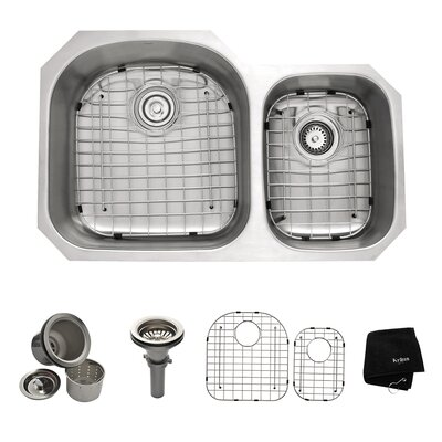 "32"" x 20.5 Undermount Double Bowl 60/40 Kitchen Sink Product Photo"