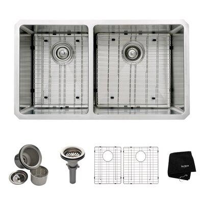 "32.75"" x 19"" 6 Piece Undermount 60/40 Double Bowl Kitchen Sink Product Photo"