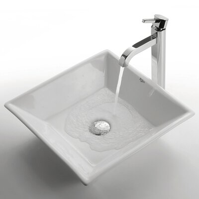 Ceramic Square Bathroom Sink with Ramus Single Lever Faucet by Kraus
