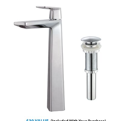 Single Lever Vessel Bathroom Faucet with Pop-Up Drain Product Photo