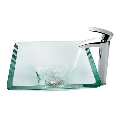 Kraus Aquamarine Glass Vessel Sink and Visio Bathroom Faucet in Chrome