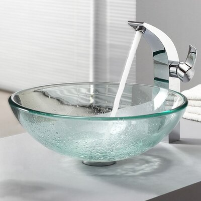Kraus Bathroom Combos Glass Vessel Bathroom Sink with Single Handle Single Hole Faucet