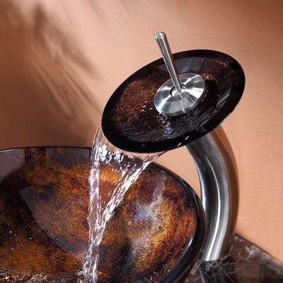 Kraus Pluto Vessel Bathroom Sink with Waterfall Faucet