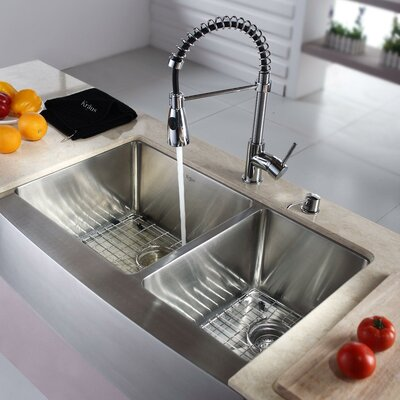 "Kitchen Combo 33"" x 25"" Single Bowl Stainless Steel Kitchen Sink with Faucet Product Photo"