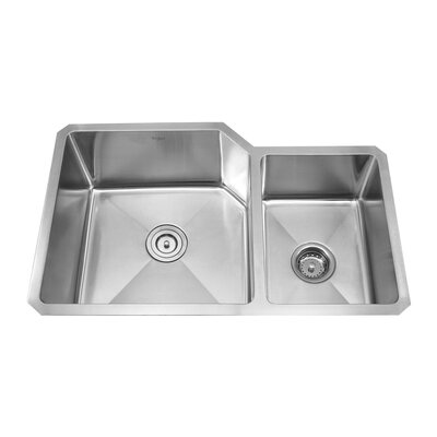 """Kraus 32"""" x 20"""" Double Bowl 70/30 Undermount Kitchen Sink with Kitchen Faucet and Soap Dispenser"""