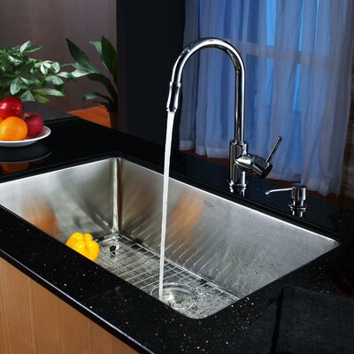 """30"""" x 18"""" Undermount Single Bowl Kitchen Sink with Faucet and Soap Dispenser II Product Photo"""
