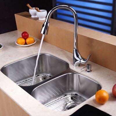 "32"" x 20.75"" Undermount 60/40 Double Bowl Kitchen Sink Set Product Photo"