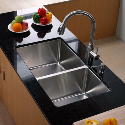 "32.75"" x 19"" Undermount Double Bowl Kitchen Sink with Kitchen Faucet and Soap Dispenser Product Photo"