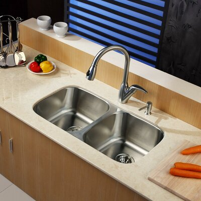 """Kraus 32.25"""" x 18.5"""" Undermount Double Bowl Kitchen Sink with Pull-Out Faucet and Soap Dispenser"""