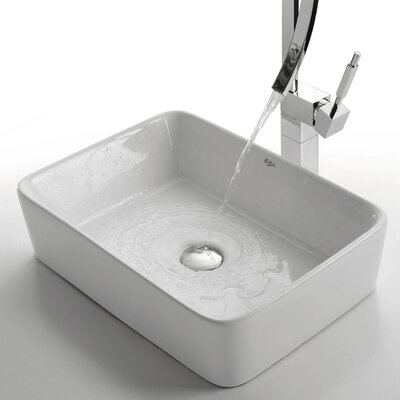 Ceramic Rectangular Vessel Bathroom Sink Product Photo