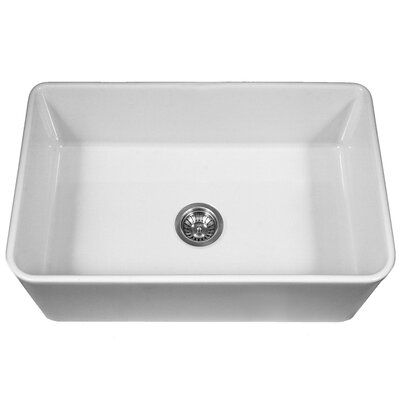 "Platus 33"" x 20"" Apron Front Fire Clay Large Single Bowl Kitchen Sink Product Photo"