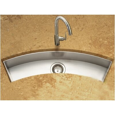 "Contempo 33"" x 11.5"" Zero Radius Undermount Curved Trough Bar Sink Product Photo"