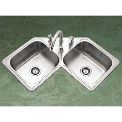 "Legend 31.88"" x 17"" Topmount Corner Bowl Kitchen Sink Product Photo"