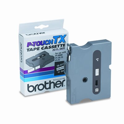 Brother TX2111 P-Touch Tape Cartridge for Pt-8000, Pt-Pc, Pt-30/35, 1/4W