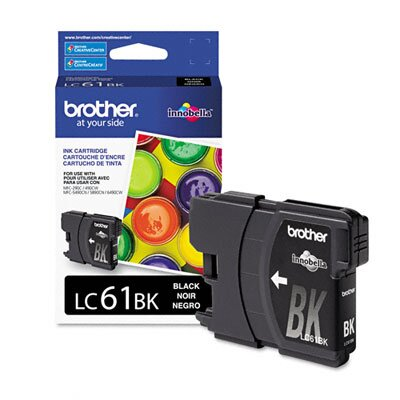 Brother LC61BK Ink, 500 Page-Yield