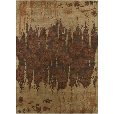 Bajrang Brown Floral Rug by Chandra