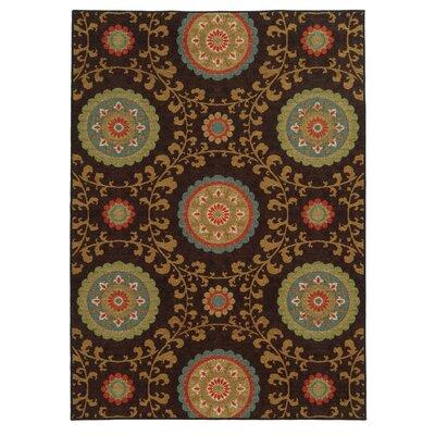 Clarissa Floral Brown/Multi Area Rug by Hokku Designs
