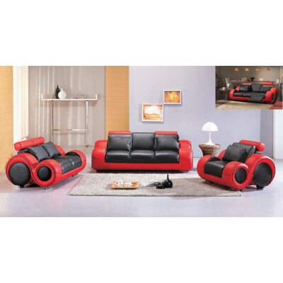 Hematite 3 Piece Leather Sofa Set by Hokku Designs
