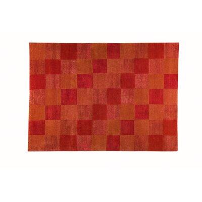 Check Orange Contemporary Rug by Hokku Designs
