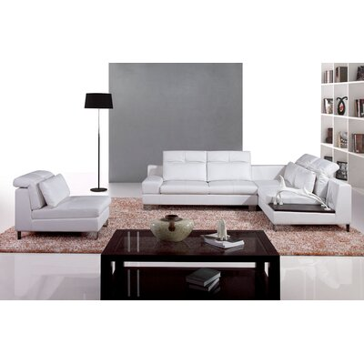 Hokku Designs Leather Right Hand Facing Sectional