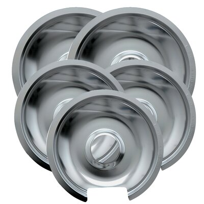 5 Piece Cooktop Style D Hinged Electric Range Drip Pan Set by Range Kleen