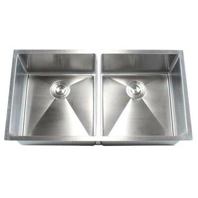 "Ariel 37"" x 20"" Double Bowl Undermount Kitchen Sink Product Photo"
