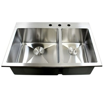 "33"" x 22"" Double Bowl Kitchen Sink Product Photo"