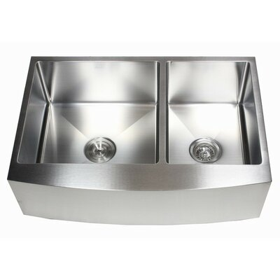 "Ariel 33"" x 21"" 60/40 Double Bowl Farmhouse Kitchen Sink Product Photo"
