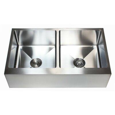 "Ariel 36"" x 21"" Stainless Steel 50/50 Double Bowl Farmhouse Kitchen Sink Product Photo"
