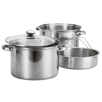 4 Piece Stainless Steel Pasta Cooker & Steamer by Prime Pacific