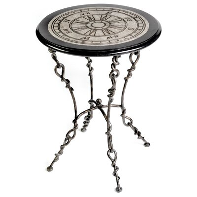 Round Accent Table In Acid Etched Compass Rose Patterned Top by Stein World