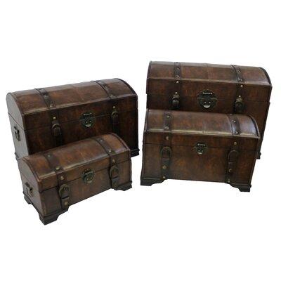 International Caravan Seville Faux Leather Indoor Storage Trunks