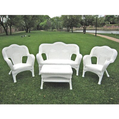 International Caravan Monaco 4 Piece Wicker Resin Seating Group