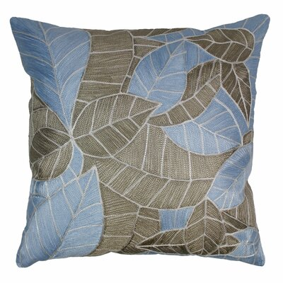 Indian Picasso Foliage Hand-embroidered Cotton Throw Pillow by Blazing Needles