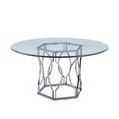 Kingstown home carlotta round glass dining table reviews for Round glass dining table