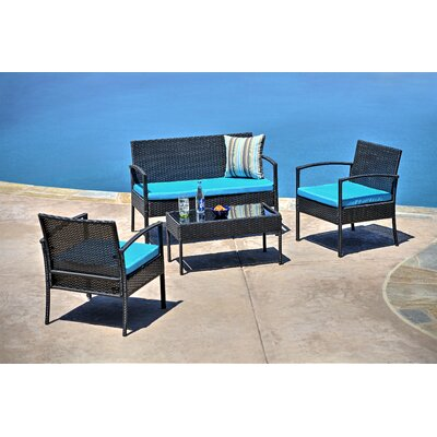 4 Piece Wicker Seating Group with Cushions by The-Hom